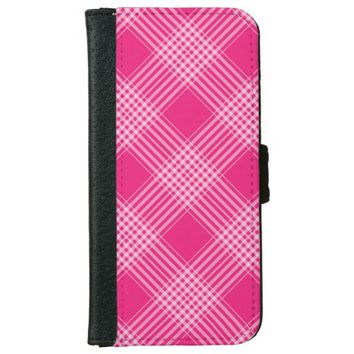 cute pink plaid iPhone 6/6s wallet case