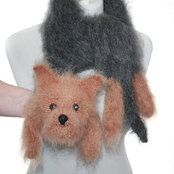 Knitted Scarf dog Yorkie / Yorkshire Terriers / Fuzzy Soft Scarf / black biege  / Dog scarf / knited dog scarf / animal scarf / pets