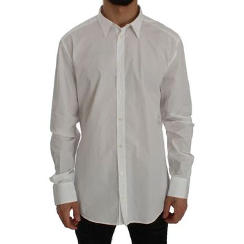 Dolce & Gabbana White Cotton GOLD Slim Fit Dress Shirt