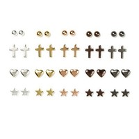 Mixed Metals Ball, Cross, Hearts and Stars Stud Earrings Set of 20  | Claire's
