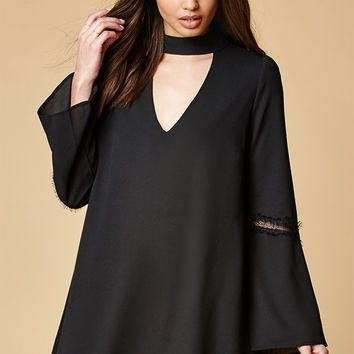 Lucca Couture Mock Neck Lace Trim Shift Dress at PacSun.com