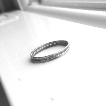 Stacking Rings, Sterling Silver Stacking Ring, Two Stacking Rings, Double Stack, Super Skinny Rings, Thin Ring Bands, Black Oxidized Rings