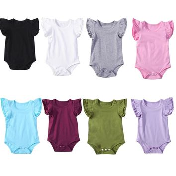 Lovely Newborn Infant Baby Girl Ruffles Sleeve Solid Color Cotton Baby Bodysuit Jumpsuit Playsuit Outfit Baby Clothes 0-24M