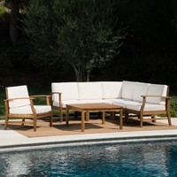 Capri Outdoor 7 Piece Teak Finished Acacia Wood Sofa Set
