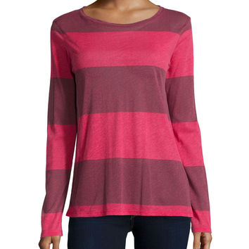 Cotton/Cashmere Long-Sleeve Striped Sweater, Size: