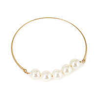 FOREVER 21 Faux Pearl Collar Necklace Matte Gold/Cream One