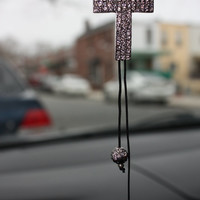 Car Accessory Silver cross rear view mirror car charms with Swarovski crystal elements.