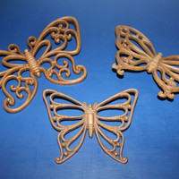 Set of three vintage faux wood Homco butterfly wall hangings, wall decor, butterfly decor