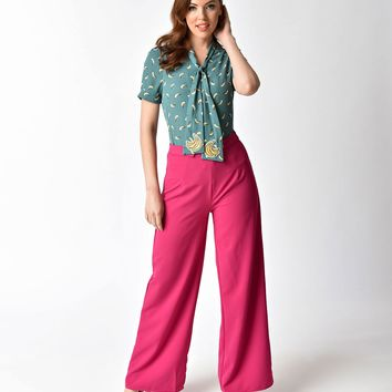 1940s Style Hot Magenta High Waisted Wide Leg Pants