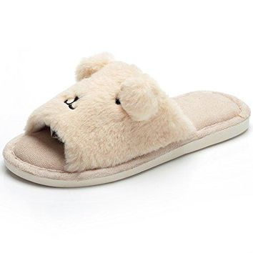Womens Soft Indoor Clog Slippers Open Toe Plush Memory Foam House Slipper Slip on Cute Animal Indoor Shoe