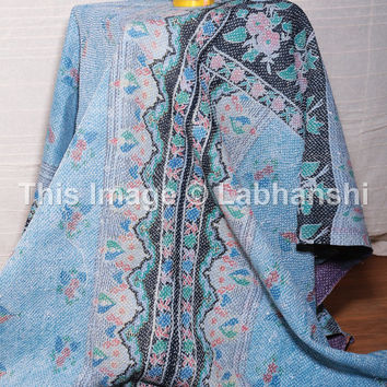 Vintage Kantha Patchwork Quilt Blanket Throw Twin Bedding Made With Vintage Cotton Saree