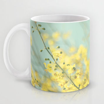 Art Coffee Cup Mug Sunny Blooms 3 fine art Modern Flower photography home decor bright yellow bokeh circle pastel blue geometric abstract