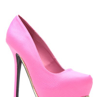 Hot Pink Reptilian Goddess Platform Pumps