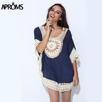 Aproms Summer Oversized Lace Crochet Knitted Blouses Women Boho Tunic Top Big Size Blusa Feminina Shirt Tropical Tops 40430