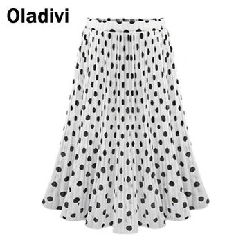 XXL XXXL Plus Size Women Pleated Skirts 2017 Summer Fashion Polka Dot Chiffon Skater Skirt Female Casual Black White Saia Longa