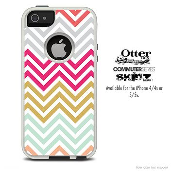 The Vintage Summer Colored Chevron V4 Skin For The iPhone 4-4s or 5-5s Otterbox Commuter Case
