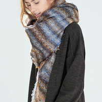 Ombre Checkered Fringe Scarf