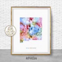 New Mexico Print New Mexico Art Print New Mexico Map Art Print Map Print Map Poster Watercolor Map Office Decor Office Poster ArtPrintZone