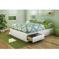 Full Size Contemporary Platform Bed with 3 Storage Drawers in White