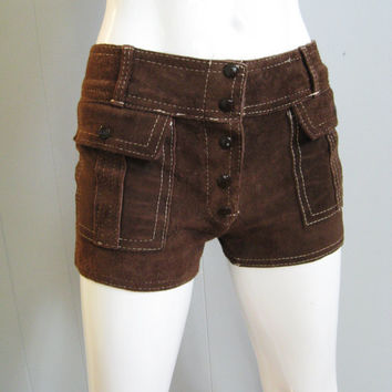70s Vintage LEATHER HOT PANTS Hippie Boho by fabulousmessvintage