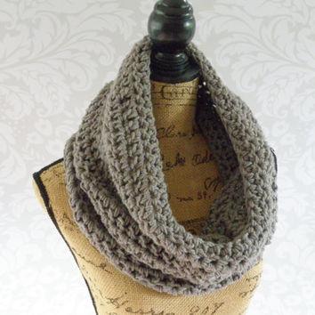 Ready To Ship Infinity Large Cowl Scarf Crochet Knit Large Medium Gray Grey Women's Accessories Eternity Fall Winter