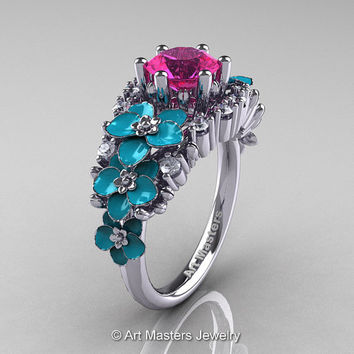 Nature Classic 14K White Gold 1.0 Ct Pink Sapphire Diamond Turquoise Orchid Engagement Ring R604-14KWGDTPS