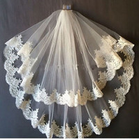 Free Shipping Bridal Veils Lace Edge One Layer Wedding Veil Tulle Ivory White 2016 veu de noiva Bridal Accessories