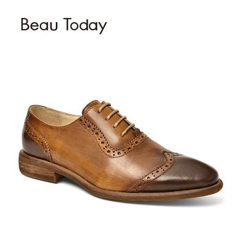 BeauToday Oxfords Women Retro Brogue Style Genuine Leather Soft Calfskin Wingtip Shoes Lace-Up Brand Flats Handmade 21412