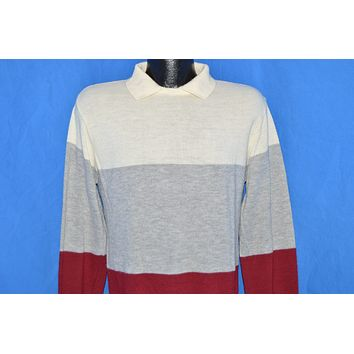 80s Off White Gray Maroon Collared Pullover Sweater Medium
