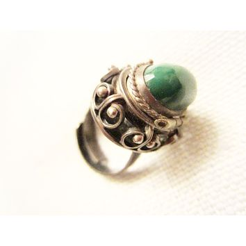 Green Chrysoprase JE Sterling Signature Cocktail Ring With Compartment