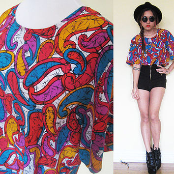 Vintage silk paisley print red blue orange boxy oversized shirt grunge hippie boho bohemian 80's dynasty