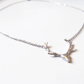 silver antler necklace, deer antler necklace, Antler Jewelry, Deer Jewelry,woodland jewelry, minimalist necklace, minimalist jewelry