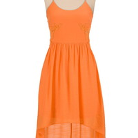 High-low gauze tank dress with cutout crochet sides