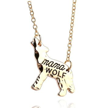 Miss Zoe mama WOLF Animal Pendant Necklace Gold Silver Mother Love Special Birthday Gift for Mommy Simple Fashion Jewelry