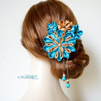 Tsumami Kanzashi Wedding Fabric Flower Hair Comb Gold and Teal  Blue Wedding Accessories