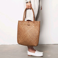 2016 New Beach Bag for Summer Big Straw Bags Handmade Woven Tote Women Travel Handbags Designer Vintage Shopping Hand Bags