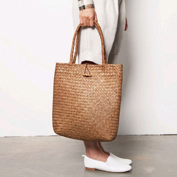 2017 Beach Bag for Summer Big Straw Bags Handmade Woven Tote Women Travel Handbags Luxury Designer Vintage Shopping Hand Bags