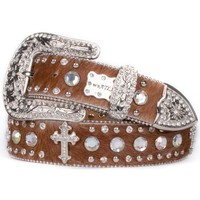 Brown Hair-On Cross Belt With Clear Crystals