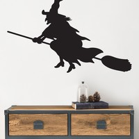 Halloween Witch Flying on a Broom Wall Decal. #393