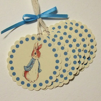 Peter Rabbit Tags, Blue or Pink, Baby Shower, Birthday Party