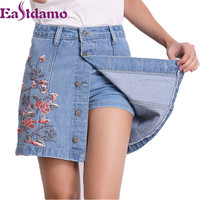 Eastdamo 2017 Summer Embroidery Denim Skirt Shorts Women High Waist Jeans Short Skirts Female Plus Size Casual Shorts Skirts