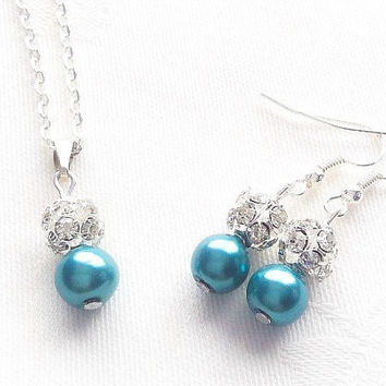 Teal Bridesmaid Jewelry Teal Jewelry Teal Bridesmaid Necklace Wedding Jewelry Bridesmaid Gift