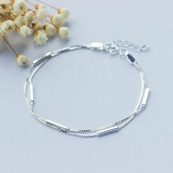 Personality New Art 925 Sterling Silver Jewelry Female Simple Bar Round Stick Double High-quality Popular Bracelet  SB3