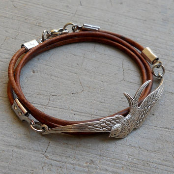 Fly Away - Antique Silver Vintage Sparrow Genuine Greek Leather Wrap Bracelet, Light Brown