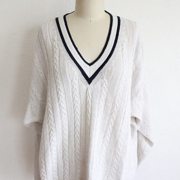 Vintage 80s Unisex White Navy Cable Knit Seaman Sweater // Oversized Top