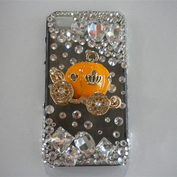 3D pumpkin carriage Bling Crystals iPhone Case iPhone 4 Case i phone 5 Case cute iPhone5 Case htc one x case iPhone 3g Case galaxy s4 Case