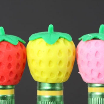 Strawberry Pencil Topper Eraser Set