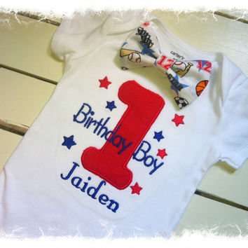 BOYS FIRST BIRTHDAY Outfit, Sports Birthday Bow Tie Bodysuit with Large #1 and Name, Boys Cake Smash Outfit, Pick and Choose Your Package