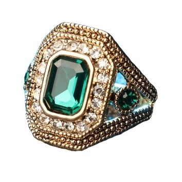 Mosaic Colourful Glass Crystal Ring
