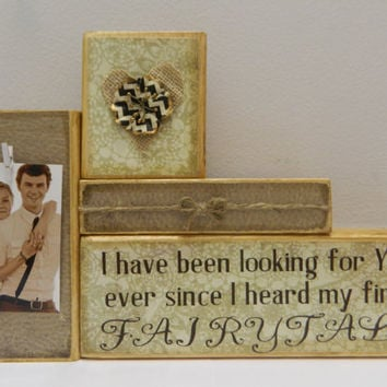 Wedding gift decoration shower anniversary wooden blocks gift for bride home decor personalized gift with photo and quote fairytale